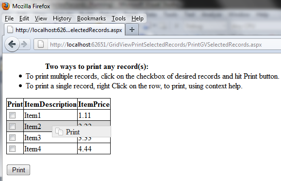 Print GridView selected record(s) using JQuery and Context