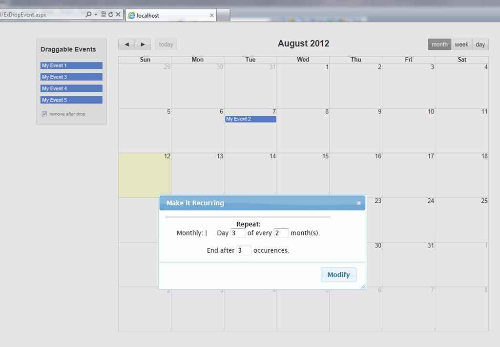 In this example an outside event is dragged on the calendar. On the ...